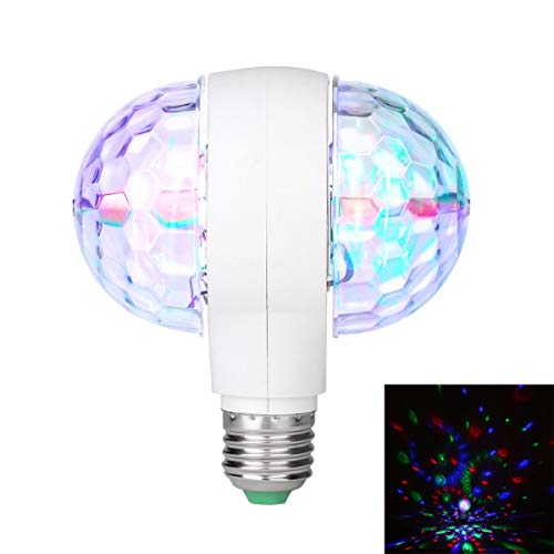 Gugutogo 6W LED-Lampe mit Dual Head Rotary magische Disco E27 Phase Two Headed für KTV DJ Disco Bar Ballsaal Club Home (weiß & transparent) -