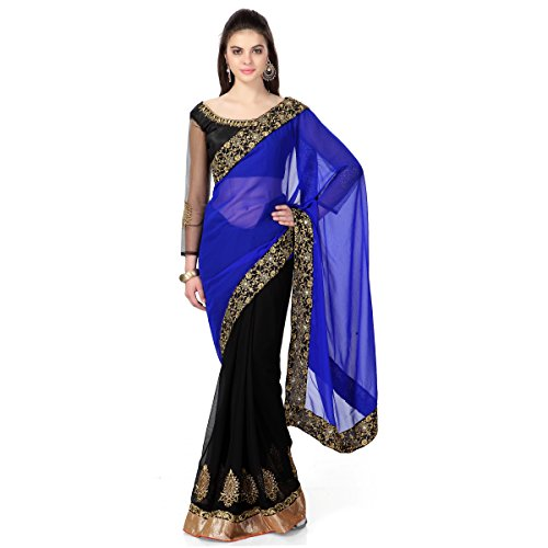 Janasya women's blue georgette saree with heavy border (JNE0302.Blue)  available at amazon for Rs.469