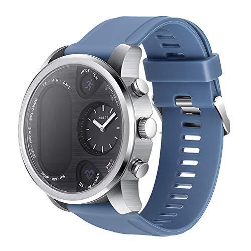 Happy-day Unisex GPS Laufuhr Wasserdicht Smart Watch Fitness Activity Herzfrequenz Tracker Schlafüberwachung Schrittzähler Anruferinnerung S Blau, Silber