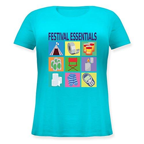 Statement Shirts - Festival Essentials Basics - S (44) - Hellblau - JHK601 - Lockeres Damen-Shirt in großen Größen mit Rundhalsausschnitt