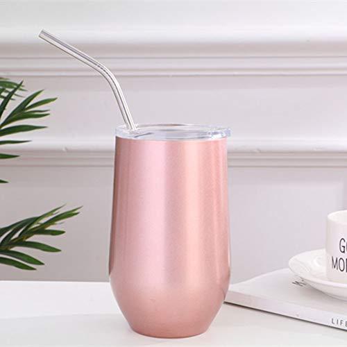 Bronze Cocktail-tisch (QYZLT Edelstahl Rotwein Vakuum Doppelschicht kreative Farbe U-förmige Eierbecher im Freien Bierkrug,Pink)