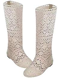 Botas de Mujer para Vestido Zapatos Botas de Encaje Hueco Crochet Hollow out Tacones Planos Gruesos Botas Ligeras de Rodilla Blanco Negro