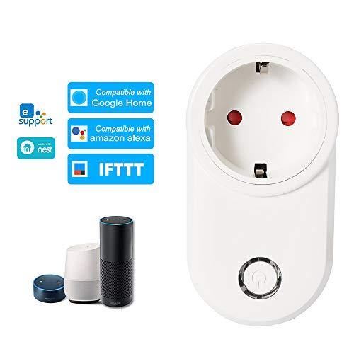eWeLink Enchufe Inteligente WiFi EU Tipo E Soporte Control Remoto Función de Temporización Control de Voz Compatible con Amazon Alexa y para Google Home IFTTT
