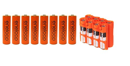 """8 Pack Panasonic Eneloop 4th Generation AA NiMH Pre-Charged Rechargeable Batteries Rechargeable 2100 Times """"Orange"""" With Storacell By Powerpax Orange AA Battery Case"""