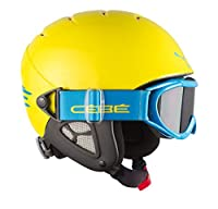 Cebe Twinny Kids Ski Helmet (Yellow Blue)Description:The Twinny 2 in 1 Junior Helmet from Cebe is an in-mould helmet with integrated Category 3 goggles.It has a thermo-regulated lining made from a durable fabric which is highly breathable, de...