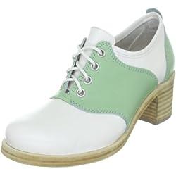Swedish Hasbeens Saddle Shoe High 025, Damen Halbschuhe, Weiss (Mint and white), EU 41