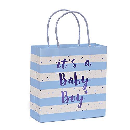 Belly Button Bubble hochwertige Geschenktasche zur Geburt oder Geburtstag eines Jungen, anspruchsvolles Design mit Prägung und Folie BT317 Design Pate