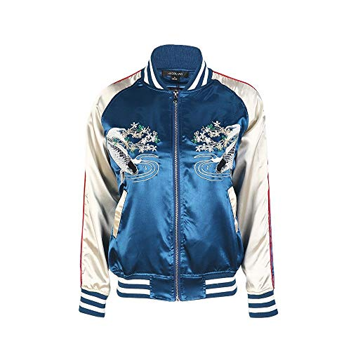 QZHE Bomberjacke Blue Floral Damen Rundhals Langarm-Tasche Zip Jacke Bestickt Bomberjacke, S