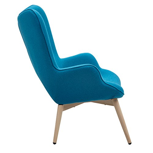 Designer Ohren-Sessel petrol mit Armlehnen aus Wolle blau | Anjo | Blauer Club-Sessel im Retro-Design mit Gestell in Holz | Moderner Wohnzimmer-Sessel auch als Relax-Sessel zu benutzen - 3