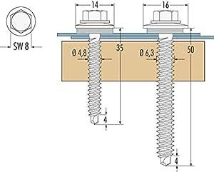 Twistec kL4050118 vis autoperceuse galvanisées de type h en acier inoxydable 6,5 x 200 cm
