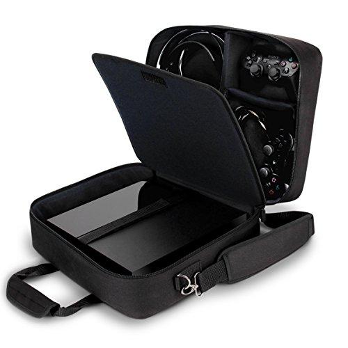USA Gear Tragetasche für Gaming Konsolen - Schutz Konsolentasche mit Schultergurt und Unterteilbaren Fächer für Zubehör und Games - Kompatibel mit Playstation 4, Xbox One und Mehr Konsolen - Schwarz