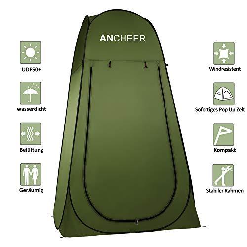 ANCHEER Ultraleichtes Segeltuch Umkleidezelt Pop up Zelt tragbares Duschzelt Outdoor Fishing Zelt WC Zelt Toilettenzelt für Camping (Grün)