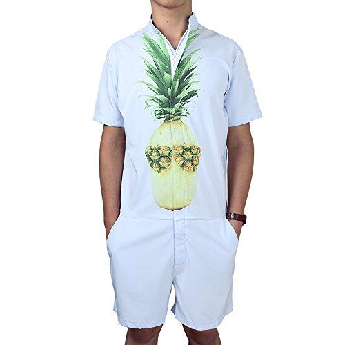 chicolife Herren Blau Zip Overall mit 3D Ananas Graphic Lässige Cargo Pants Romer Anzug Overalls Große