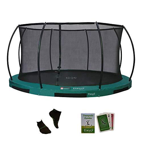 Etan Hi-Flyer Outdoor Boden Trampolin mit starkem Sicherheitsnetz - Inground Gartentrampolin mit UV-beständiges Randabdeckung - eingegraben in-ground Kinder Trampolin mit Netz - Rund - Grün - 366 cm