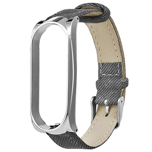 Preisvergleich Produktbild Armband Für Xiaomi Mi Band 3 Band,  MuSheng Leder Handgelenk Sport Band Ersatz Fitness Armband Strap für Xiaomi Mi Band 3 Smart Armband (Silber)