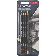 Derwent Charcoal - Lápices de carboncillo (4 unidades), color claro, medio, oscuro y blanco