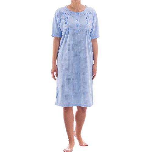 Zeitlos Nachthemd Kurzarm im Punkte Design (M, Blau) (Pflege-langarm-nachthemd)