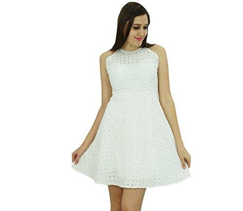 Bimba Vêtements pour femmes Maj court Décontracté Skater robe blanche Blanc