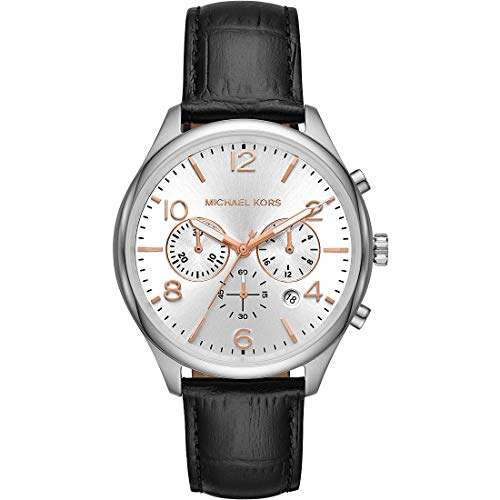 Michael Kors Mens Chronograph Quartz Watch with Leather Strap MK8635