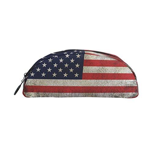 zzkko Retro Star und Streifen Amerikanische Flagge Reißverschluss Pen Bleistift Tasche für Kinder Mädchen Jungen Jugendliche Erwachsene