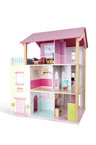 Puppenhaus Rosa Dach aus Holz, inkl. 21 farbenfrohen Möbelstücken, Spielspaß auf 3 Etagen, mit drehbarem Sockel, offene Seiten für einfaches Bespielen - 2
