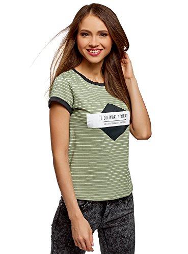 oodji Ultra Mujer Camiseta a Rayas con Estampado en el Pecho, Verde, ES 38 / S