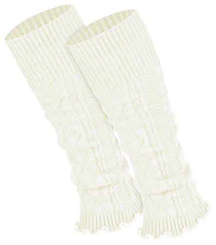 Piarini 1 Paar Bein Stulpen Damen | warme Beinstulpen Strick | ecru