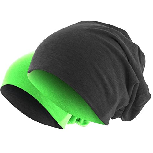 Hatstar Slouch Long Beanie 2in1 Reversible Jersey Mütze in 44 Farben (dunkelgrau/neon grün) (Neon Grüne Haare)