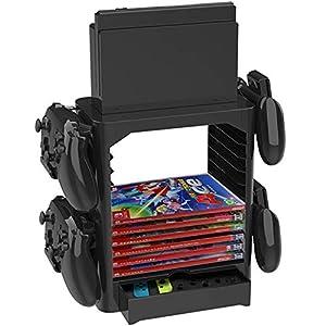 StarPlayer Aufbewahrungsständer für Nintendo Switch mit 4 Controller-Halterungen und 10 Layers Game Disks Storage & 1 Schublade und Nintendo Switch Dock-Ständer