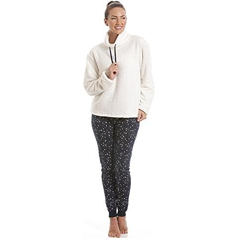 Top de pijama de forro polar y leggings - Crema y estampado estelar azul marino