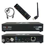 Maxytec Multibox 4K UHD 2160p H.265 HEVC Android & E2 Linux, 8GB Flash, USB3.0, 150Mbit WLAN, DVB-S2 Sat & DVB-T2/C Combo Tuner Receiver Schwarz