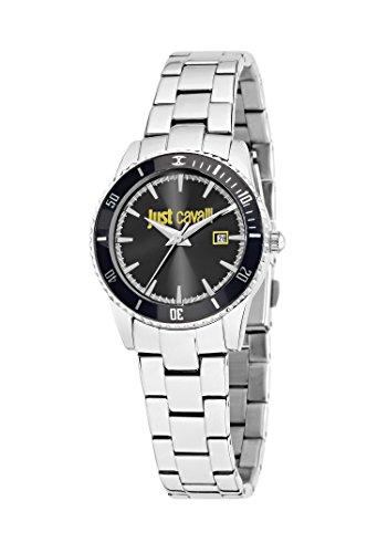 Just Cavalli Just In Time Women's Quartz Watch with Black Dial Analogue Display and Silver Stainless Steel Strap R7253202504