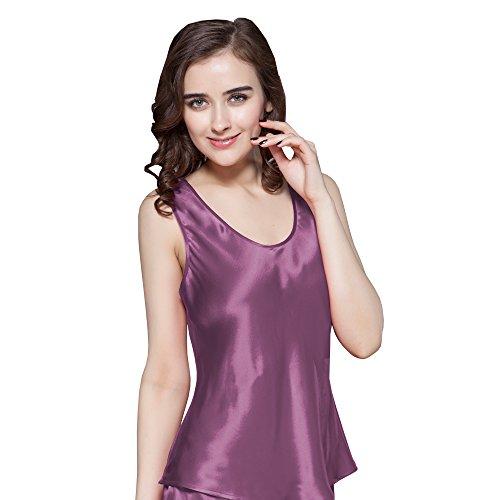 Lilysilk Débardeur Uni Femme en Soie 22 Momme Haut de Pyjama Lingerie de Nuit 100% Soie Violet