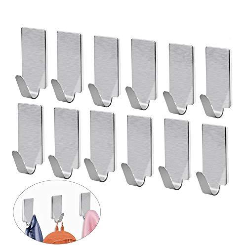 Klebehaken 3M Selbstklebende Haken Edelstahl 3M Selbstklebend für Schlüssel Taschen Bademantel Handtuch Home Küche Bad Wohnzimmer Büro (16 Packungen)