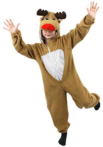 ILOVEFANCYDRESS EIN Rentier/Rudolf- Onesie FÜR Kinder IN der GRÖSSE-MEDIUM=TOLLE WEIHNACHTSVERKLEIDUNG= Alles IN Einem Jumpsuit (Vogelscheuche Der Kostüm Oz Von Zauberer Aus)