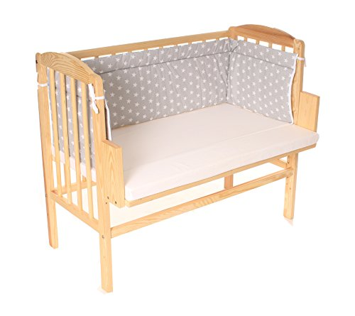 Beistellbett, Kinderbett, Gitterbett, Babybett, Babyblume MARIA 90x40cm, Farbe: Kiefer inkl. Matratze Basic und Nest grau/Sterne