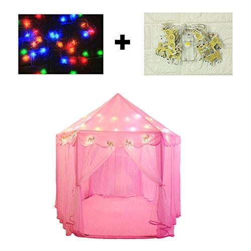 Spielzelte für Mädchen spielen Zelt Hexagon Prinzessin Schloss Schauspielhaus Kinder Spielplatz mit Sternenlicht und Rentier Licht für Indoor und Outdoor