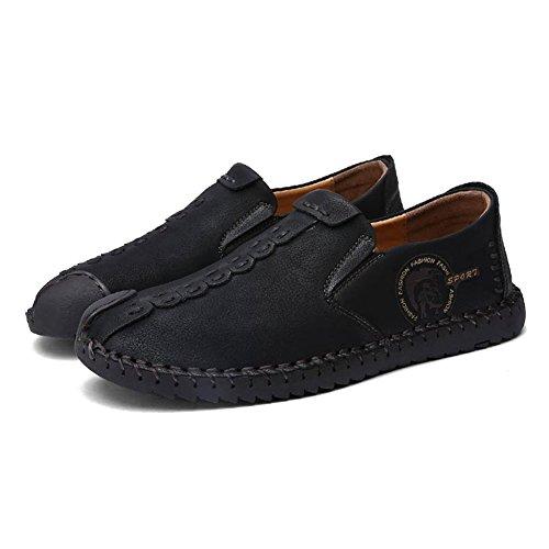 Hibote Herren Leder Freizeitschuhe Herren Britischen Stil Slip On/Schnürschuhe Casual Mode Flach Leder Loafer Schuhe Low-Top Sneakers Halbschuhe Slippers Gr.38-44 Schwarz (Slip On)