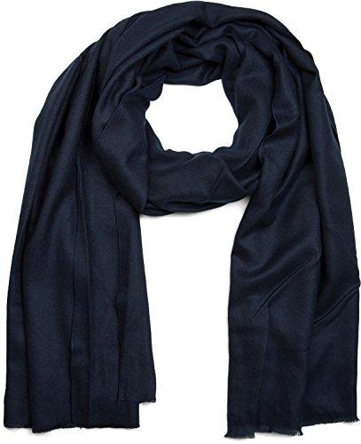 styleBREAKER weicher Stola Schal in Unifarben mit Fransen, Tuch, Unisex 01017070, Farbe:Midnight-Blue / Dunkelblau