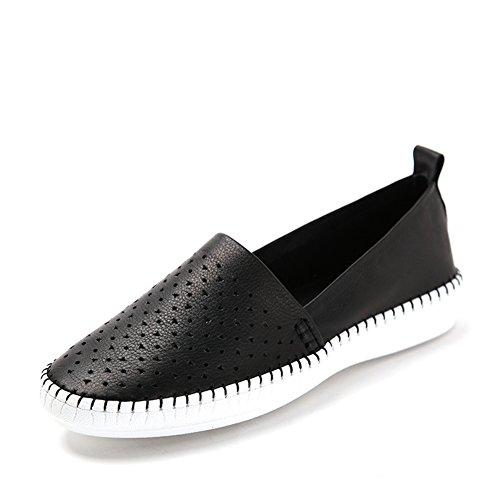Primavera scarpe openwork di aria/Mette piede scarpe/Comfort piatto scarpe da donna Nero
