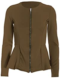 Be Jealous Womens Tailored Full Long Sleeve Zip Up Peplum Ruffle Frill Casual Party Jacket Blazer Top