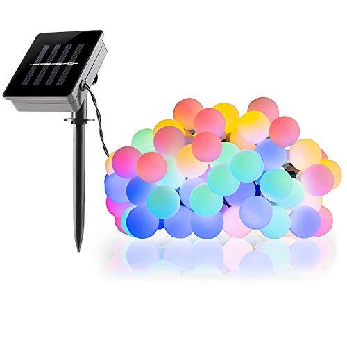 KEEDA Guirlande Lumineuses Solaire, 50 LED Boule Lumières Solaire Décoratives,Luminaire Extérieur, Lumières Chaines de Noël,Solaire Extérieure de Lampe (Multi)