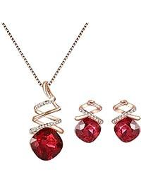 f324064b8250 Cosanter 1Set Mezcla Pendientes y Collares de Imitación de Cristal para  Mujeres de la Joyería Accesorios