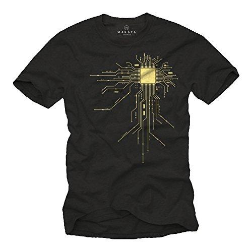 MAKAYA Regalo Friki - Camiseta para Hombre Negra - CPU - Talla L