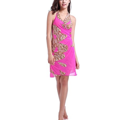 Shangrui Donna Costume Da Bagno Serie Elevata elasticità Filato Netto Variabile Spiaggia Gonna Suit(FZSWVB012) Roseo12