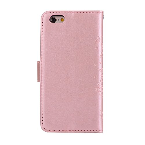 Etsue Schmetterling Schutzhülle Handytasche für iPhone 6s Plus/iPhone 6 Plus Lederhülle Flip Tasche Case Leder Flip Hülle, iPhone 6s Plus/iPhone 6 Plus Muster Butterfly Blumen Luxus Vintage Handyhülle Blume,Rose Gold