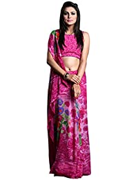1 Stop Fashion Women's Pink Color Georgette Saree With Digital Print & Blouse