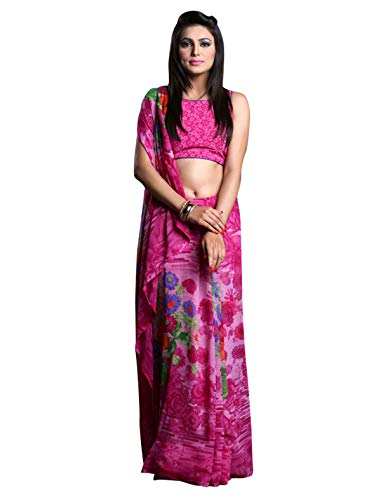 1 Stop Fashion Women\'s Pink Color Georgette Saree With Digital Print & Blouse