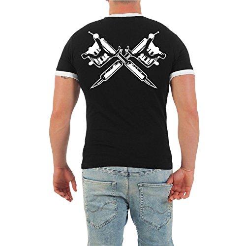 Männer und Herren T-Shirt Ich war schon tätowiert als es COOL war (mit Rückendruck) Größe S - 8XL Schwarz/Weiß