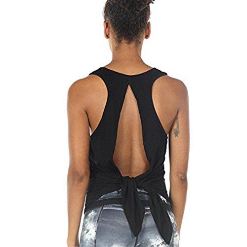 VEMOW Neue Kommende Sommer Frauen Damen Yoga Tops Racerback Tanktop Sport Backless Ärmellose Bluse (EU-48/CN-XL, Schwarz)